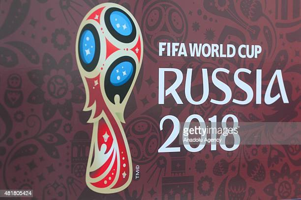 Logo of Fifa 2018 World Cup Russia seen during preparations to Preliminary draw for the FIFA World Cup Russia at Konstantinovsky palace in...