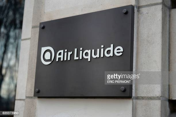 Logo of French industrial gas company Air Liquide taken at the presentation of the group's 2016 results at the group's headquarters in Paris on...