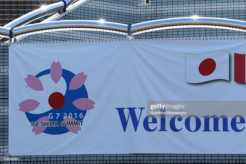 A logo of G7 Ise-Shima summit displayed outside the international media center building to be used during the Ise-Shima Summit on May 5, 2016 in Ise, Japan. The G7 summit will be held in Ise-Shima, Mie prefecture on May 26 and 27, 2016.
