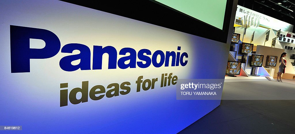 A logo of Japan's electric giant Panasonic is seen during a press conference to introduce its new lineup of plasma and LCD TV series 'Viera' in Tokyo on February 3, 2009. Panasonic said February 3 it was cutting up to 15,000 jobs and closing dozens of plants worldwide as it braces to fall deep in the red due to the global economic crisis. AFP PHOTO/Toru YAMANAKA