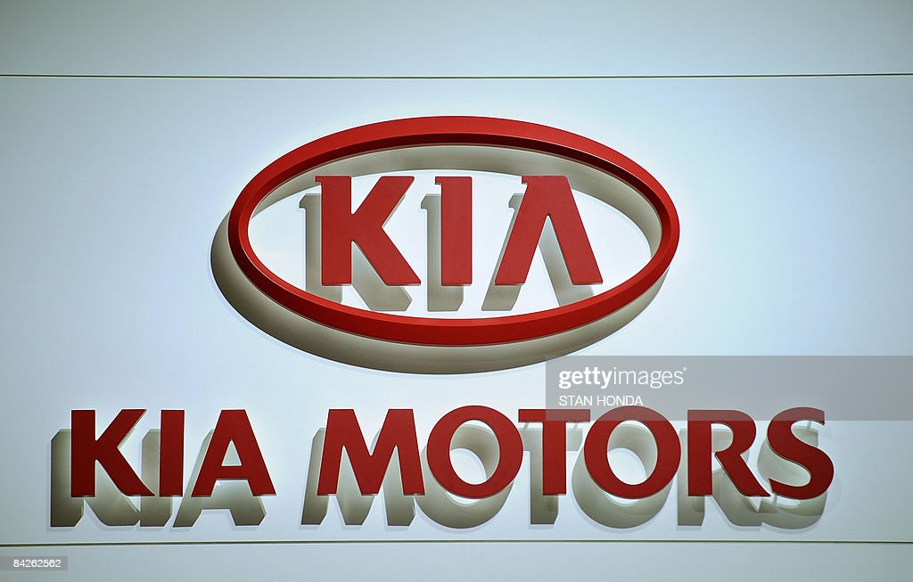 Logo of Kia Motors at the North American International Auto Show January 12 2009 in Detroit Michigan AFP PHOTO/Stan HONDA
