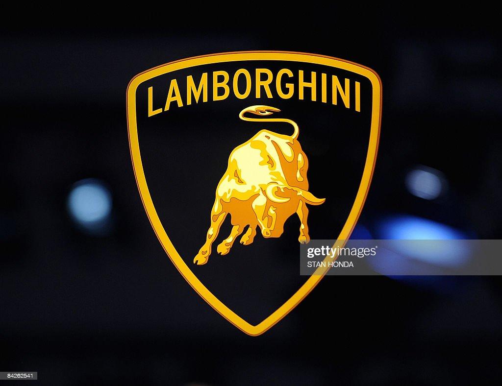 Logo of Lamborghini at the North American International Auto Show January 12 2009 in Detroit Michigan AFP PHOTO/Stan HONDA
