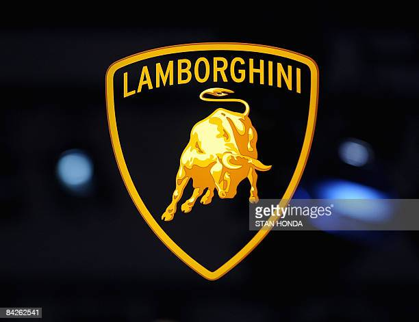 Logo of Lamborghini at the North American International Auto Show January 12 2009 in Detroit Michigan AFP PHOTO/Stan HONDA