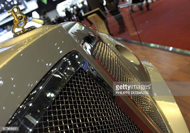 Logo of Malaysian carmaker Bufori surmonts the radiator grille on March 2 2010 during the second press day at the 80th Geneva International Motor...
