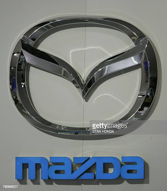 Logo of Mazda a division of the Ford Motor Company 15 January 2008 at the North American International Auto Show in Detroit Michigan AFP PHOTO/Stan...