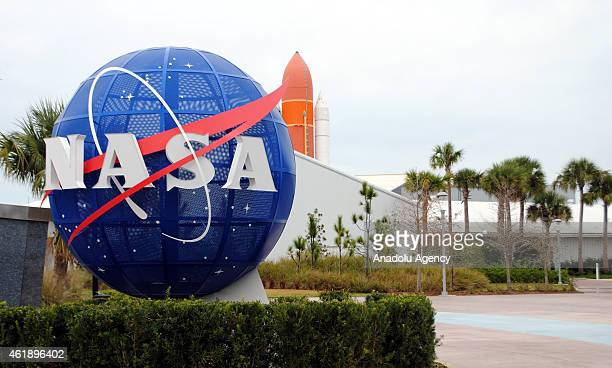 Logo of NASA is seen at the Kennedy Space Center in Cape Canaveral Air Force Station in Florida United States on January 21 2015