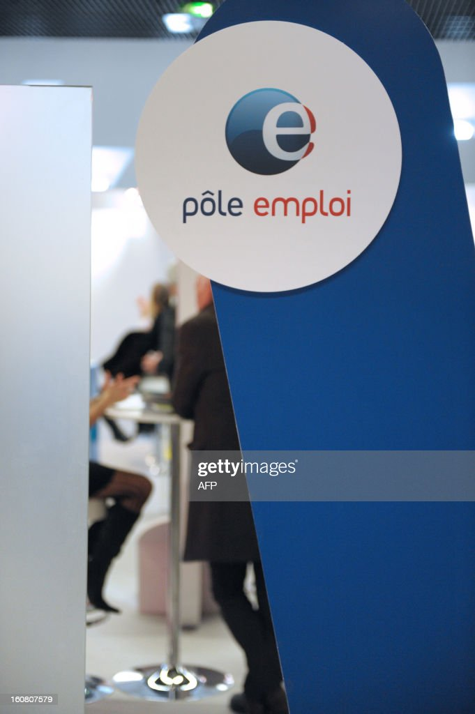 A logo of Pole Emploi, France's national employment agency, is pictured at the 'Salon des Entrepreneurs' (Entrepreneurs Fair) in Paris on February 6, 2013.