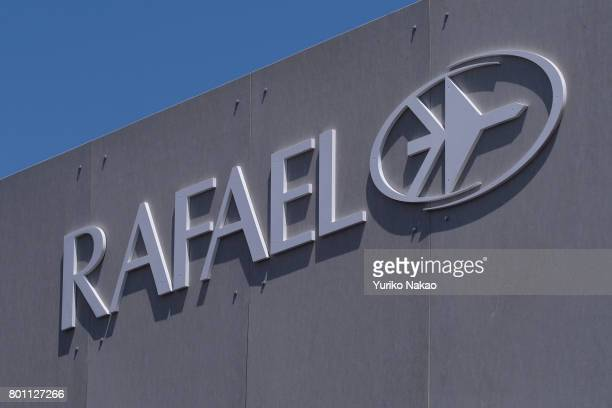 A logo of Rafael Advanced Defense Systems Ltd is pictured at the Le Bourget Airport on the first public day of the 52nd International Paris Air Show...