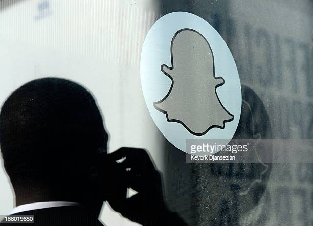 Logo of Snapchat is seen at the front entrance new headquarters of Snapchat the popular social network startup that lets users send each other photos...