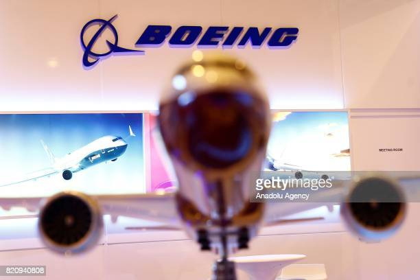 A logo of the Boeing at the MAKS2017 International Aviation and Space Salon in Zhukovsky Moscow Region Russia on July 22 2017