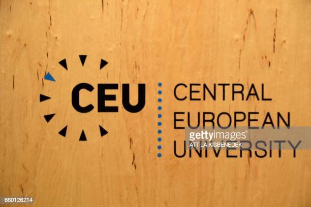 Logo of the Central European University is seen in Budapest on March 29 2017 The Englishlanguage CEU set up in Budapest by Hungarian born American...