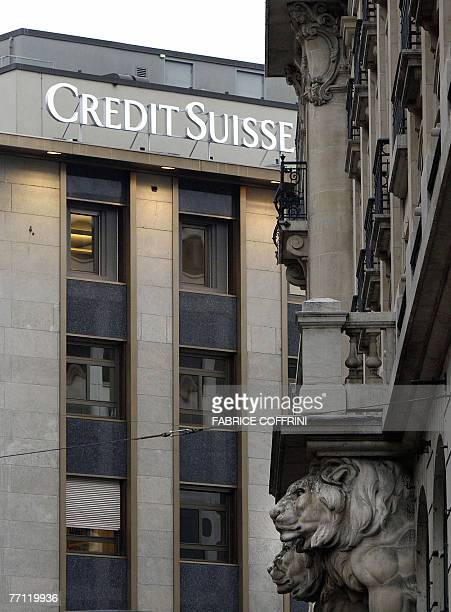 Logo of the Credit Suisse banks is seen 01 October 2007 in Geneva Credit Suisse said today that its investment banking and asset management...