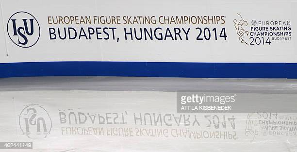 A logo of the European Figure Skating Championships is reflected on ice in Syma sports hall of Budapest on January 13 2014 The 2014 ISU European...