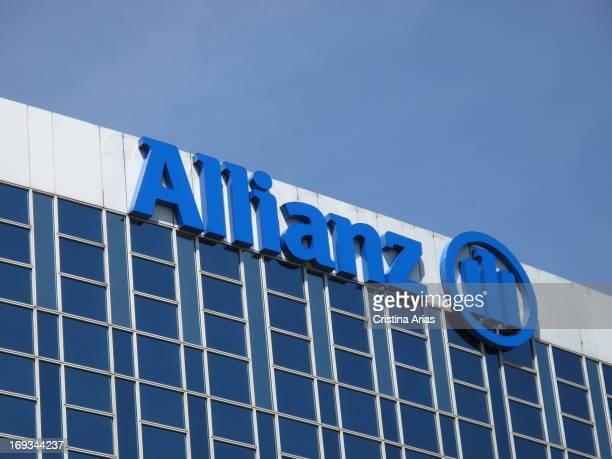 Logo of the German multinational insurance and financial services Allianz on top of its headquarters in the city of Madrid Spain