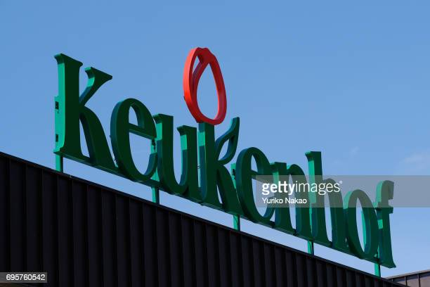 A logo of the Keukenhof the world's largest flower and tulip garden park is pictured at the entrance on May 10 2017 in Lisse Netherlands One of the...