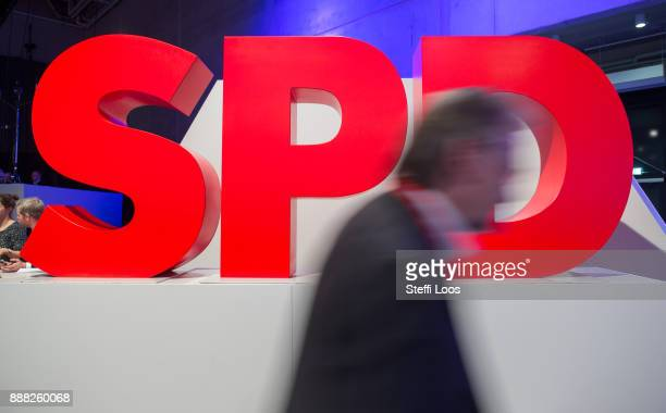 Logo of the Social Democratic Party at the SPD federal party congress on December 8 2017 in Berlin Germany SPD delegates are meeting for the threeday...