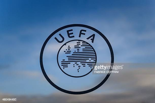 A logo of the UEFA the European football governing body is seen on December 15 2014 at the UEFA headquarters in Nyon AFP PHOTO / FABRICE COFFRINI /...