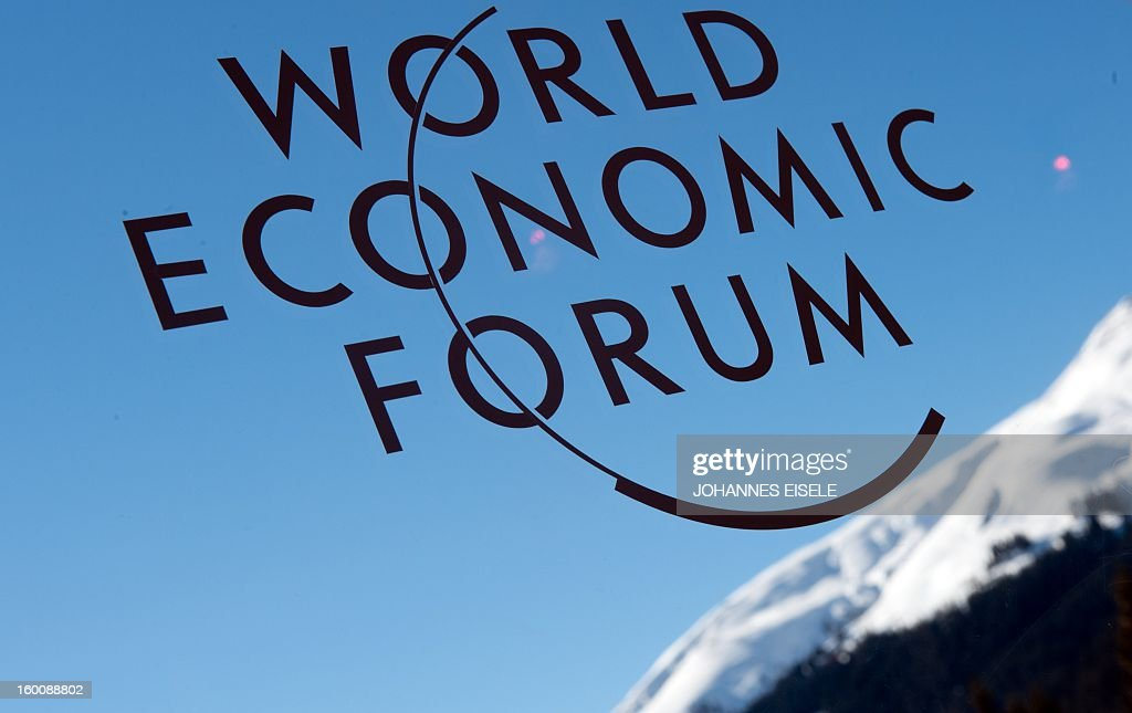A logo of the World Economic Forum Annual Meeting 2013 is pictured on January 26, 2013 at the Swiss resort of Davos.