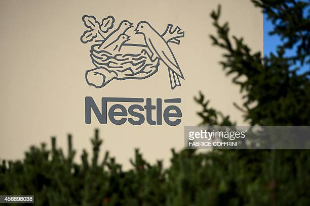 A logo of the world's leading food industry group Nestle is seen on October 9 2014 at the group's Research Center in VerschezlesBlanc above Lausanne...