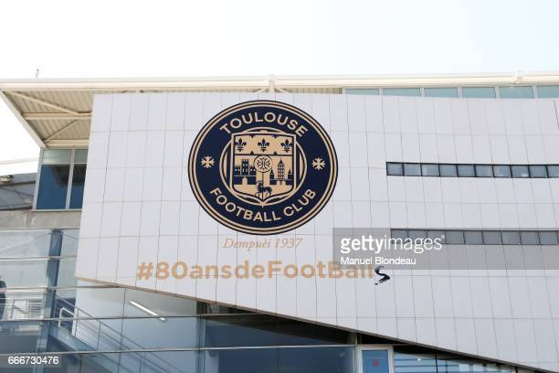 Logo of Toulouse for the 80th birthday of the club during the Ligue 1 match between Toulouse FC and Olympique de Marseille at Stadium Municipal on...