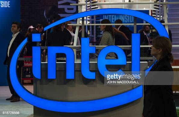 A logo of US semiconductor giant Intel is on display at the Digital Business fair CEBIT in Hanover central Germany on March 15 2016 Tinker Toys...