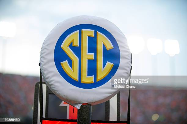 SEC logo on a field marker during Auburn's game against the Washington State Cougars on August 31 2013 at JordanHare Stadium in Auburn Alabama At...