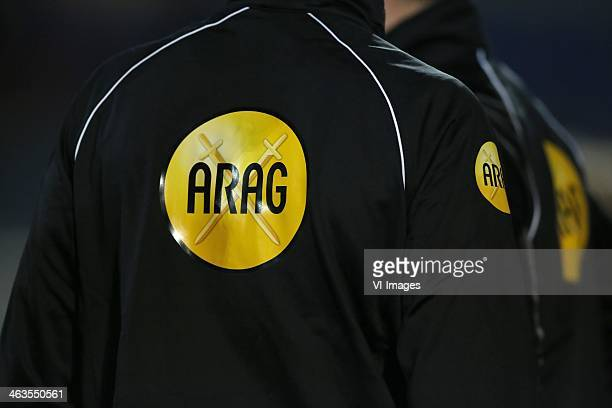 ARAG logo referee during the Dutch Eredivisie match between PEC Zwolle and Vitesse Arnhem at the IJsseldelta stadium on January 18 2014 in Zwolle The...