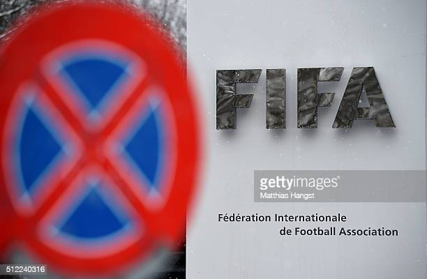 FIFA logo seen near the headquarter Home of FIFA ahead of tomorrow's Extraordinary FIFA Congress to elect a new FIFA President at Hallenstadion on...