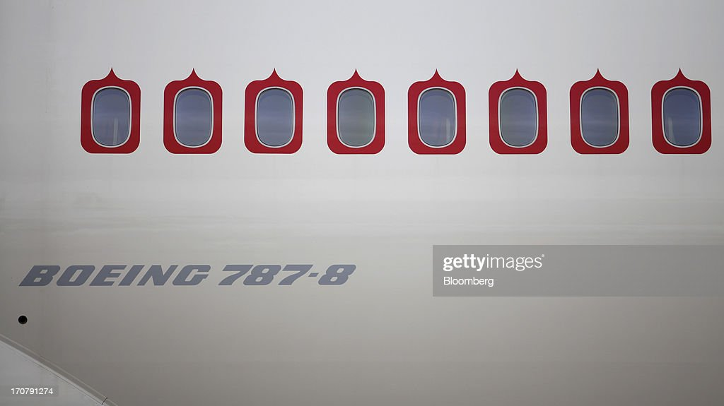 A logo sits beneath the cabin windows of a Boeing Co. 787-8 Dreamliner aircraft operated by Air India Ltd. on the second day of the Paris Air Show in Paris, France, on Tuesday, June 18, 2013. The 50th International Paris Air Show is the world's largest aviation and space industry show, and takes place at Le Bourget airport June 17-23. Photographer: Balint Porneczi/Bloomberg via Getty Images