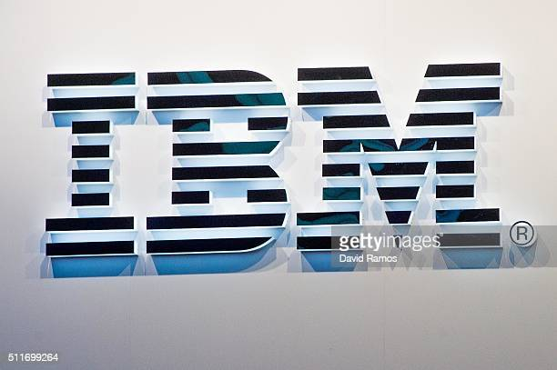 A logo sits illuminated outside the IBM pavilion on the opening day of the World Mobile Congress at the Fira Gran Via Complex on February 22 2016 in...