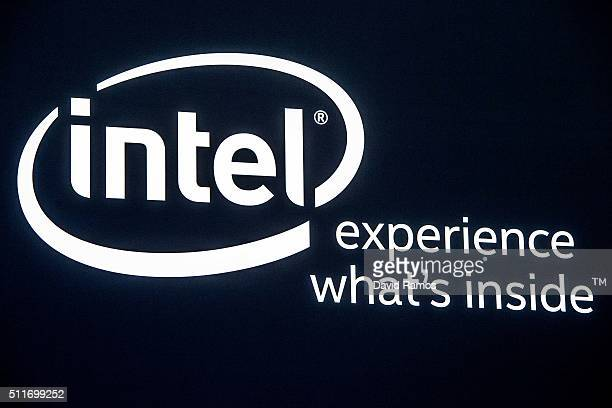 A logo sits illuminated outside the Intel pavilion on the opening day of the World Mobile Congress at the Fira Gran Via Complex on February 22 2016...