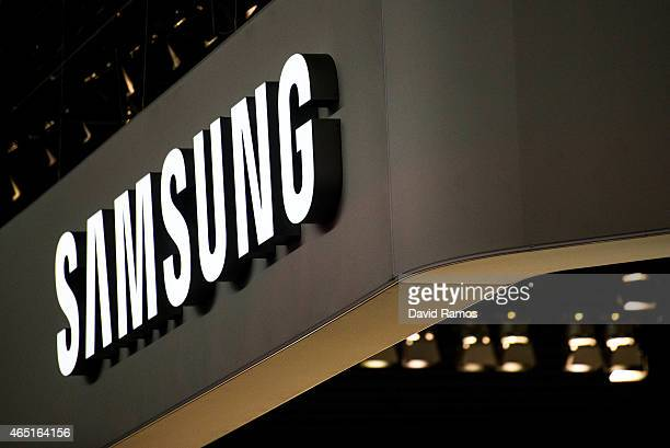 A logo sits illuminated outside the Samsung pavilion during the second day of the Mobile World Congress 2015 at the Fira Gran Via complex on March 3...