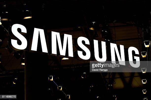 A logo sits illuminated outside the Samsung pavilion on the opening day of the World Mobile Congress at the Fira Gran Via Complex on February 22 2016...