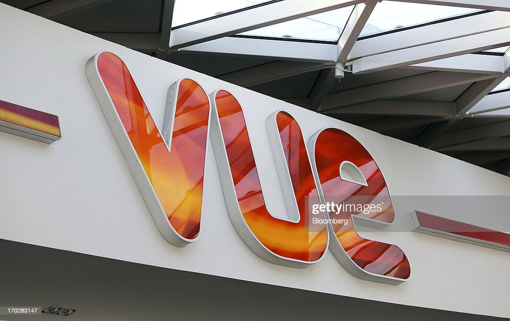 A logo sits inside a Vue Cinema, operated by Vue Entertainment Ltd., at the Westfield Stratford City retail complex in London, U.K., on Tuesday, June 4, 2013. Vue Entertainment, the U.K. cinema chain bought by private equity firm Doughty Hanson & Co., are continuing to expand in Europe, recently acquiring Poland's second-largest cinema chain Multikino. Photographer: Chris Ratcliffe/Bloomberg via Getty Images