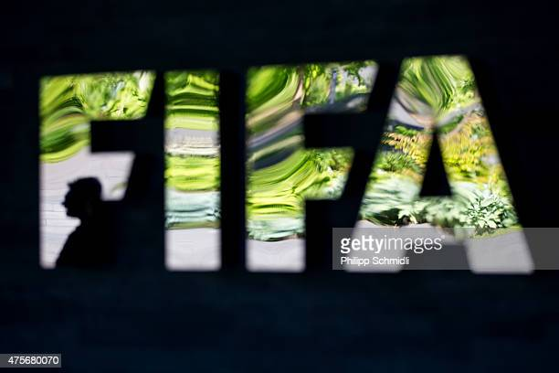 FIFA logo sits next to the entrance at the FIFA headquarters on June 3 2015 in Zurich Switzerland Joseph S Blatter resigned as president of FIFA The...