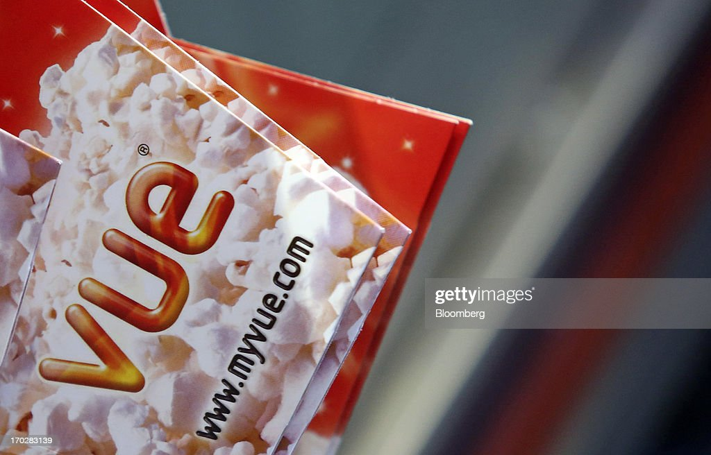 A logo sits on a carton stored ahead of use behind a sales desk at a Vue Cinema, operated by Vue Entertainment Ltd., at the Westfield Stratford City retail complex in London, U.K., on Tuesday, June 4, 2013. Vue Entertainment, the U.K. cinema chain bought by private equity firm Doughty Hanson & Co., are continuing to expand in Europe, recently acquiring Poland's second-largest cinema chain Multikino. Photographer: Chris Ratcliffe/Bloomberg via Getty Images