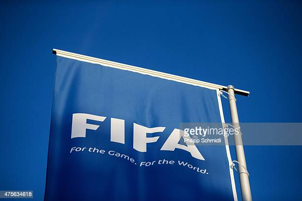 FIFA logo sits on a flag at the FIFA headquarters on June 2 2015 in Zurich Switzerland Joseph S Blatter resigned as president of FIFA The 79yearold...