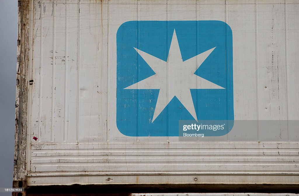 A logo sits on a Maersk Sealand shipping container at the APM terminal, operated by AP Moeller-Maersk A/S, in the Port of Rotterdam, in Rotterdam, Netherlands, on Thursday, Sept. 19, 2013. The pace of economic contraction in the Netherlands, which is in its third recession in five years, is slowing. Photographer: Jasper Juinen/Bloomberg via Getty Images