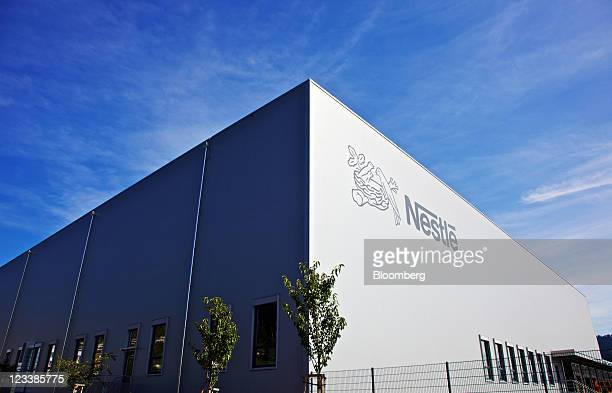 A logo sits on display at Nestle SA's new production unit for probiotic infant formulas in Konolfingen Switzerland on Thursday Sept 1 2011 Nestle SA...