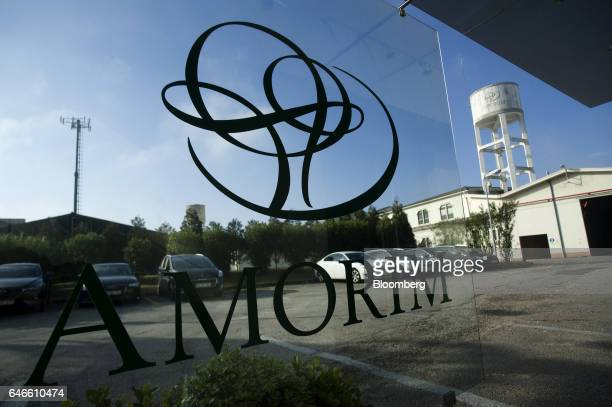 A logo sits on display at the Amorim Irmaos SA factory operated by Corticeira Amorim SGPS SA in Santa Maria da Feira Portugal on Friday Feb 24 2017...