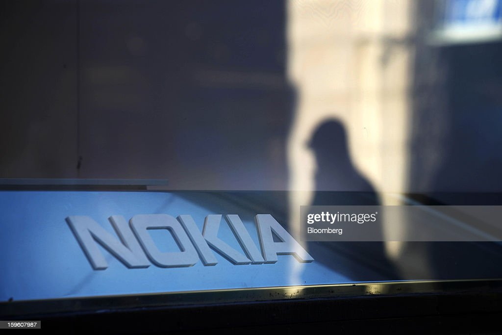 A logo sits on display in the window of a Nokia Oyj store in Helsinki, Finland, on Thursday, Jan. 17, 2013. The pace of Finland's debt growth is alarming and the country must undertake economic reforms together with reining in spending, Finnish Prime Minister Jyrki Katainen said in an op-ed piece published in newspaper Savon Sanomat. Photographer: Ville Mannikko/Bloomberg via Getty Images