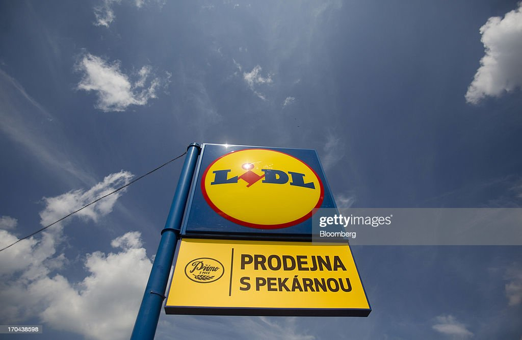 A logo sits on display outside a Lidl discount supermarket store, operated by Schwarz Group, in Prague, Czech Republic, on Thursday, June 13, 2013. Ahold and Tesco are tied as the Czech Republic's third-largest grocer by revenue behind Lidl discount store owner Schwarz Group and Rewe AV, which owns the Billa supermarkets, according to Krakow, Poland-based market researcher PMR. Photographer: Martin Divisek/Bloomberg via Getty Images