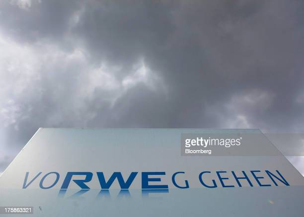 A logo sits on display outside a nuclear power plant operated by RWE AG in Emsland Germany on Thursday Aug 8 2013 RWE AG Germany's largest power...