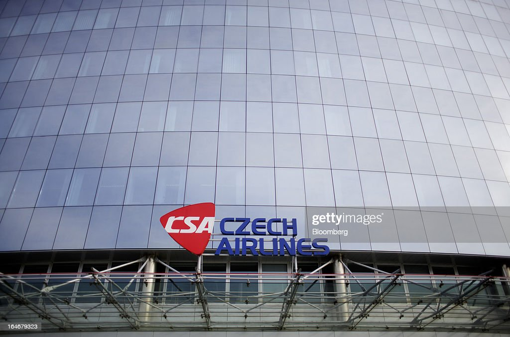 A logo sits on display outside the head office of Ceske Aerolinie AS (CSA) airlines in Prague, Czech Republic, on Monday, March 25, 2013. Korean Air Lines Co. pledged to hold its stake in Ceske Aerolinie AS for five years, while CSA's majority owner will refrain from making 'significant' changes in its strategy, according to terms of this week's sale. Photographer: Martin Divisek/Bloomberg via Getty Images