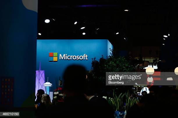 A logo sits on display outside the Microsoft Corp pavilion at the Mobile World Congress in Barcelona Spain on Wednesday March 4 2015 The event which...