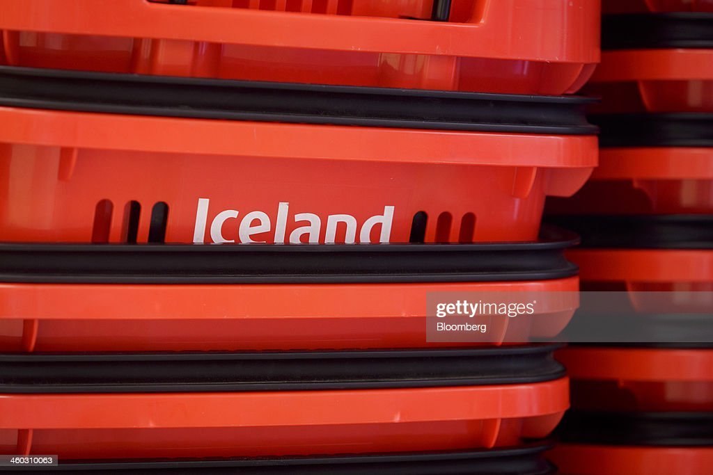 A logo sits on stacked shopping baskets ahead of use inside an Iceland Foods Ltd. store in Prague, Czech Republic, on Friday, Jan. 3. 2014. The Czech Republic's 2013 budget deficit of 80.9 billion koruna ($4.01 billion) beat the 100 billion-koruna target after the government cut spending, the Finance Ministry said. Photographer: Martin Divisek/Bloomberg via Getty Images