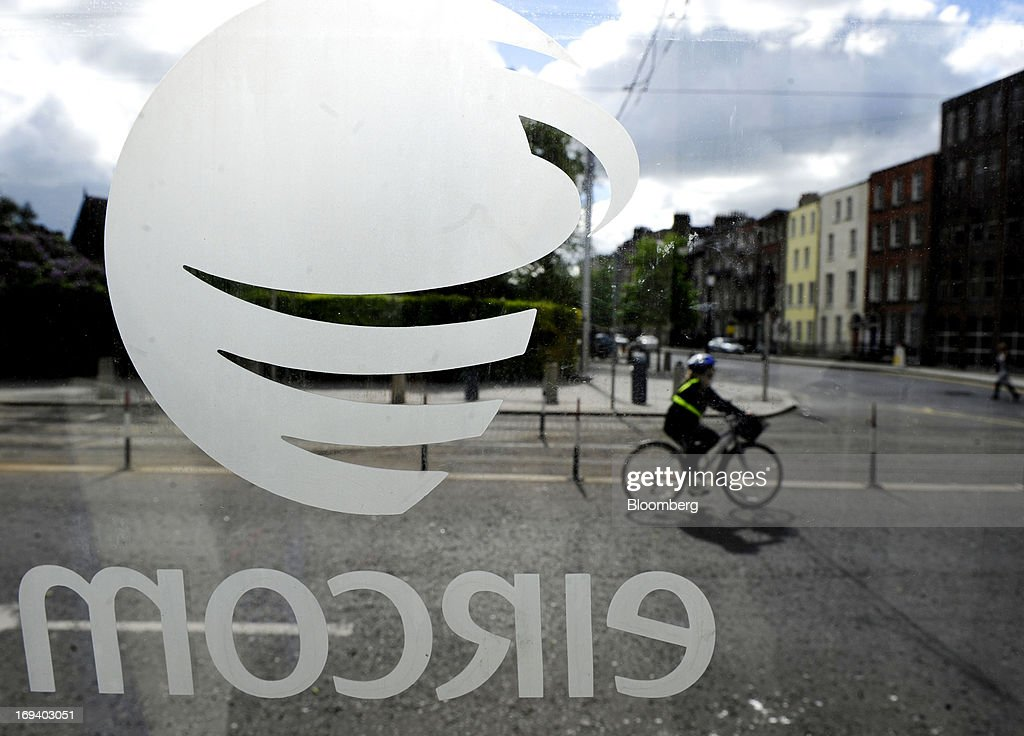 A logo sits on the door of a fixed-line public telephone booth, operated by Eircom Group, in Dublin, Ireland, on Thursday, May 23, 2013. Eircom Group, which has changed ownership six times since 1999, 'would like to be consolidators rather than consolidated' amid expected mergers and acquisitions in the Irish telecoms market, its Chief Financial Officer Richard Moat said. Photographer: Aidan Crawley/Bloomberg via Getty Images