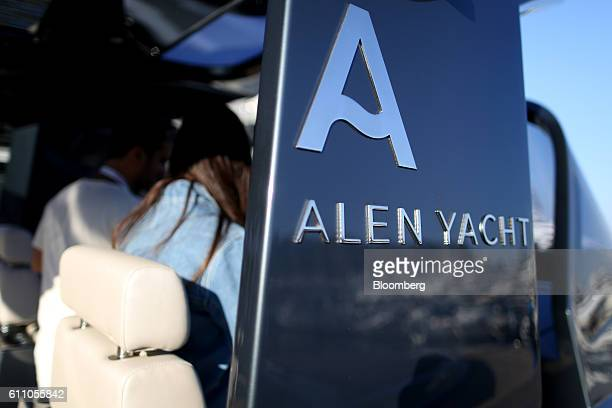 A logo sits on the exterior of the Alen 55 luxury tender boat built by Alen Yachts during the Monaco Yacht Show in Port Hercules Monaco on Wednesday...