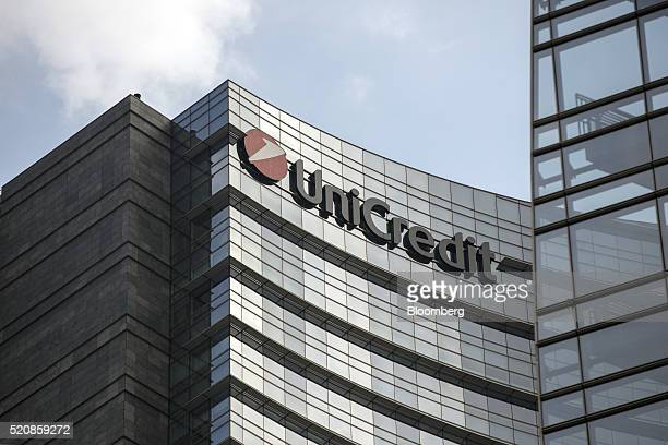 A logo sits on the exterior of the UniCredit SpA bank headquarters office as it stands in Milan Italy on Wednesday April 13 2016 The latest plan to...