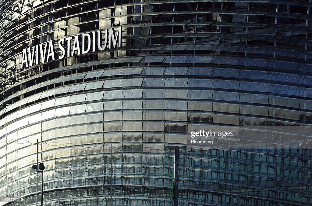 A logo sits on the side of the Aviva Stadium in Dublin, Ireland, on Thursday, Dec. 27, 2012. Ireland will take over the EU presidency in January as the euro-area wrestles with putting the European Central Bank in charge of lenders within the currency union and other participating nations. Photographer: Aidan Crawley/Bloomberg via Getty Images